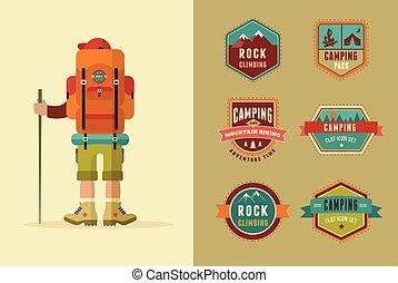 icônes, camp, -, ensemble, elements., randonneur, vecteur, affiche, insignes, randonnée