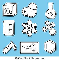 icônes, chimie, -stickers, impression, illustration