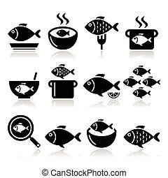 icônes, chowder, fish, -, soupe, repas