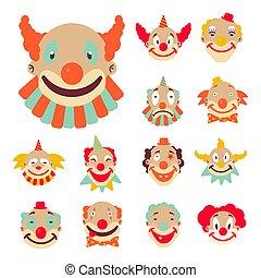 icônes, clown, faces, coloré, perruques, accessoires