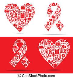 icônes, coeur, faire, aides, monde médical