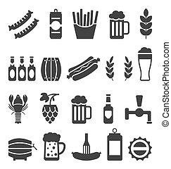 icônes, collations, isolé, bière, arrière-plan noir, blanc