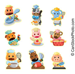 icônes, collection, chef cuistot, vecteur, dessin animé, animal
