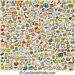 icônes, collection, grand, école, education