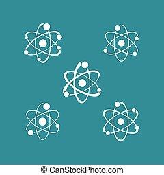 icônes, collection, signe, atome, logo, blanc