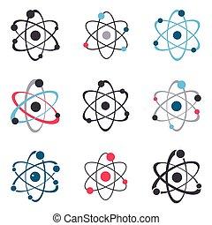 icônes, collection, signe, vecteur, atome, logo
