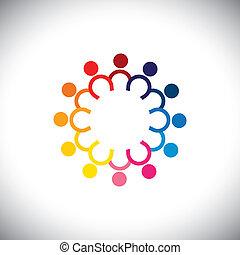 icônes, coloré, -, cercle, debout, vecteur, enfants, concept