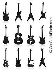 icônes, colour., illustration, vecteur, noir, guitares