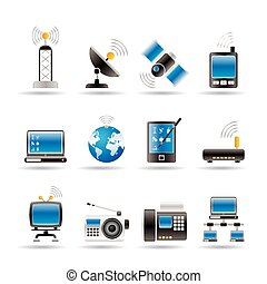 icônes, communication, technologie