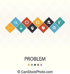 icônes, concept., analyser, ui, gabarit, infographics, branché, problème, dépression, solution