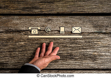 icônes concept, mobile, toile, contact, téléphone, courrier, ligne
