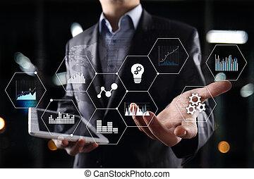 icônes, concept., screen., virtuel, business, graphiques, applications, technologie internet