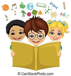 icônes concept, voler, apparenté, imagination, gosses, lecture, education, livre, dehors.
