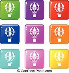 icônes concept, voyage, global, ensemble, 9