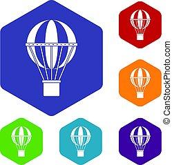 icônes concept, voyage, global, ensemble, hexagone