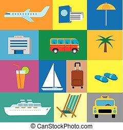 icônes, concept, voyage, recours, océan, exotique, voyage, mer, croisière