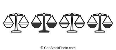 icônes, conception, balances, différent, plat, versions, quatre