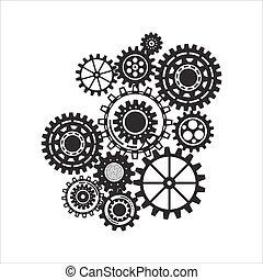 icônes, connecté, stratégie, numérique, concepts., business, résumé, seo, analytics, fond, concept., recherche, engrenages, mécanisme, service, commercialisation, communiquer
