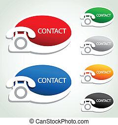 icônes, -, contact, téléphone, vecteur, autocollants