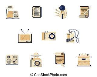 icônes, couleur, édition, média, vecteur, plat