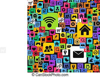 icônes, couleur, média, moderne, seamless, texture, social