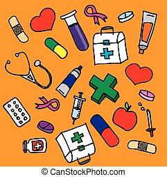 icônes, désinvolte, ensemble, monde médical, main écrite