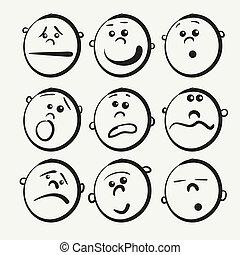 icônes, dessin animé, figure