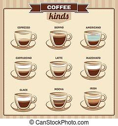 icônes, différent, ensemble, café, plat, genres