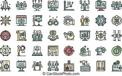 icônes, directeur, ensemble, compte, vecteur, plat