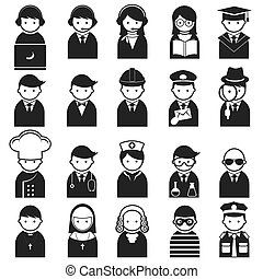 icônes, divers, gens, occupation
