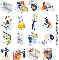 icônes, données, personnel, protection