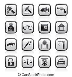 icônes, droit & loi, crime, police