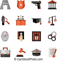 icônes, droit & loi, légal, ensemble, plat