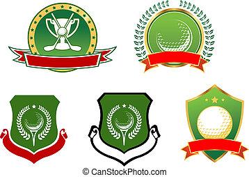 icônes, emblèmes, sport, golf, signes