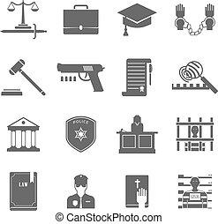 icônes, ensemble, application loi