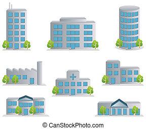 icônes, ensemble, bâtiment