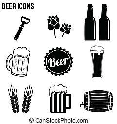icônes, ensemble, bière