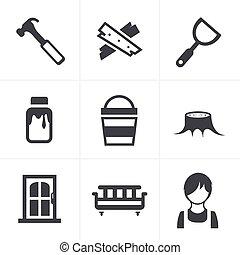 icônes, ensemble, charpenterie