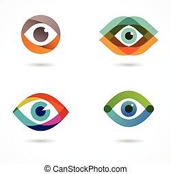 icônes, ensemble, coloré, oeil