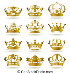 icônes, ensemble, couronne or
