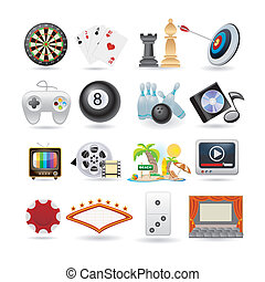 icônes, ensemble, divertissement