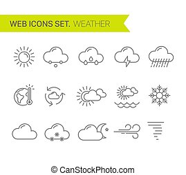 icônes, ensemble, ligne, mince, vecteur, temps