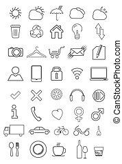 icônes, ensemble, mince