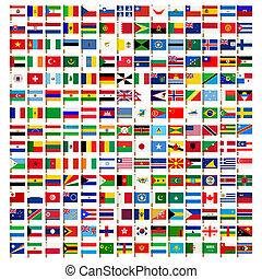 icônes, ensemble, mondiale, drapeau
