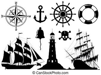icônes, ensemble, nautique