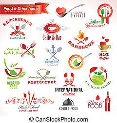 icônes, ensemble, nourriture, boisson