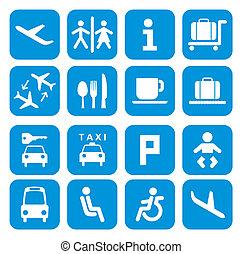 icônes, -, ensemble, pictogramme, aéroport