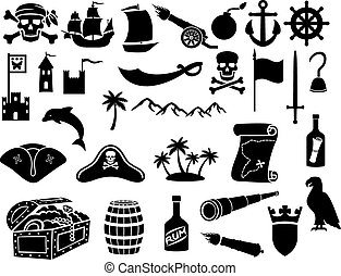 icônes, ensemble, pirates