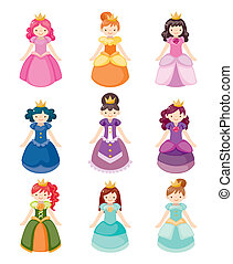 icônes, ensemble, princesse, dessin animé, beau