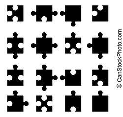 icônes, ensemble, puzzle, vecteur